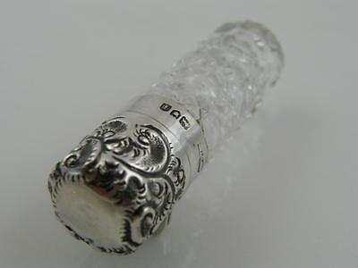1904 Silver Topped & Cut Clear Glass Scent Bottle