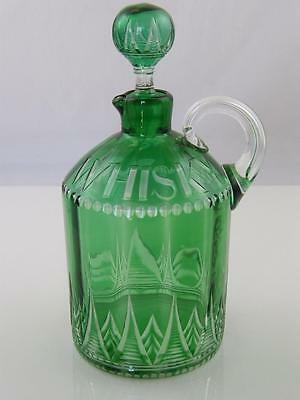 C.1900 Cut Clear & Green Glass Whiskey Decanter