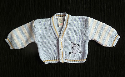 Baby clothes BOY 3-6m blue,beige,white dog soft V-neck cardigan