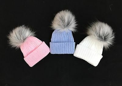 First Size Baby Faux Raccoon Fur Pompom Hat/White/Blue/Pink/N.B.-2Months