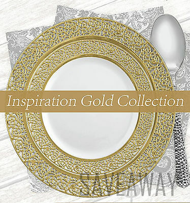 Elegant Wedding Party Disposable Plastic Plates Inspiration White - Gold