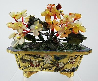 Chinese Jade Bonsai in Champleve Cloisonne Pot