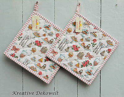 Clayre & Eef Topflappen Set Cakes Pastries Cupcake Muffin Rosen Baumwolle 20x20