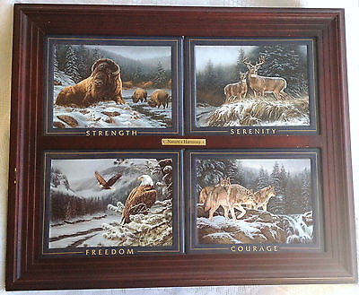 Nature's Harmony set of 4 with frame - Courage, Freedom, Strength, Serenity 116
