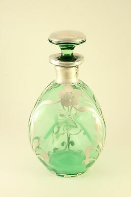 Vintage Green Etched Glass Pinch Bottle Dimple Decanter Bottle Silver Overlay
