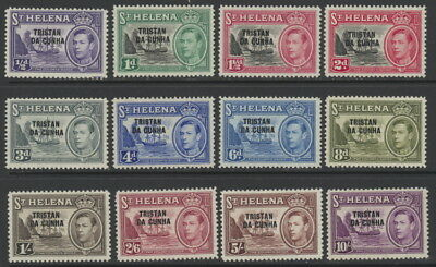 Tristan Da Cunha 1 to 12 mlh complete set, overprints on St. Helena stamps GeoVI