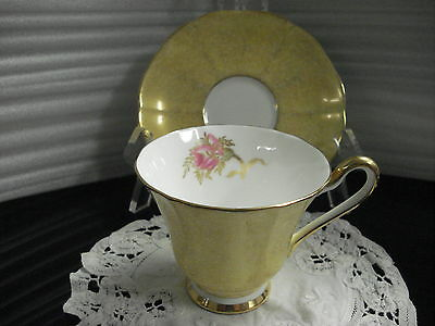 TEA CUP & SAUCER Tuscan Gilded Yellow Made In England C3