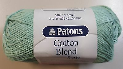 Patons Cotton Blend 8 Ply #36 Frosty Green Cotton / Acrylic 50g