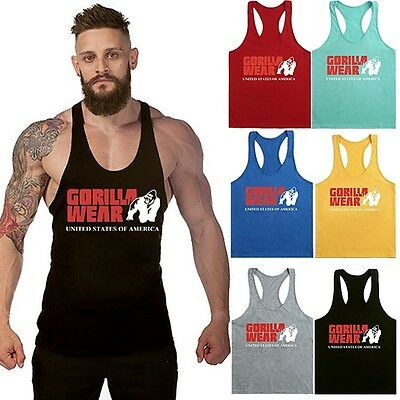 Mens Stringer Bodybuilding Tank Top Gym Singlet Y-Back Muscle Racer-Back Vest
