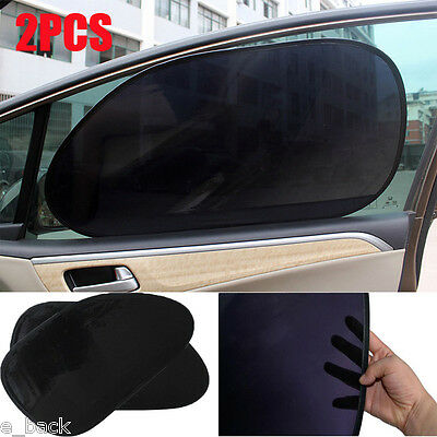 2Pc Car Rear Window Side Sun Shade Cover Block Static Cling Visor Shield Screen