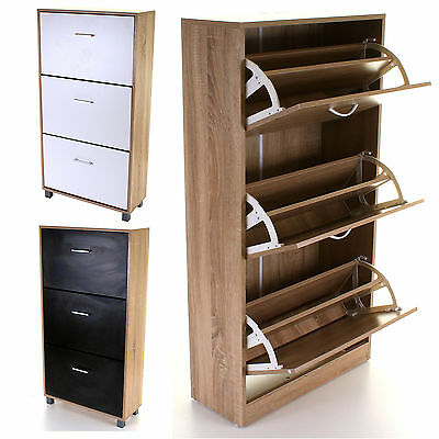3 Drawer Shoe Cabinet Rack Storage Wooden Cupboard Footwear Stand Unit 3 Colours