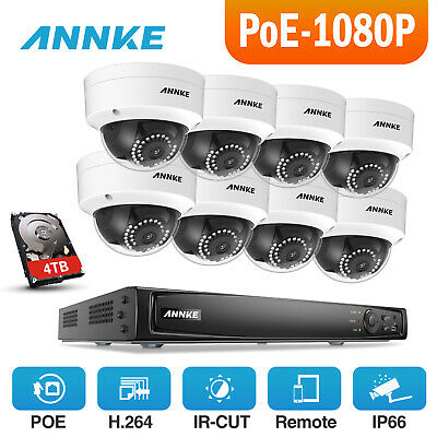 ANNKE 4TB 1080P 8CH 6MP NVR WDR Night Vision Security Camera System 2MP HD POE