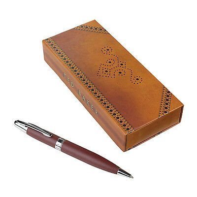Ted Baker - Brown Brogue Faux Leather Pen in Presentation Gift Box