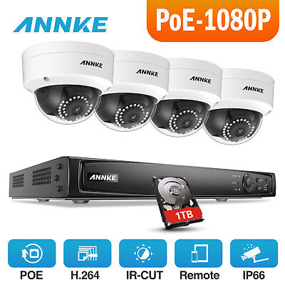 ANNKE 1080P 8CH 5MP NVR Digital WDR POE Outdoor Security Camera System Video DNR