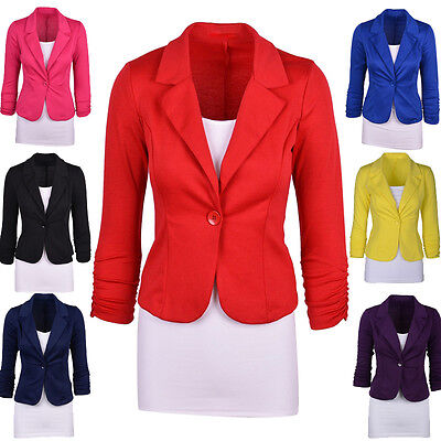 Womens Work Blazer Suits Candy Color One Button Office Coat Jacket Tops Business