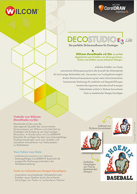 Sticksoftware Wilcom DecoStudio lite e3, inkl. CorelDRAW Essentials X6