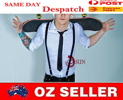 BOY Teenage Navy Blue Braces Elastic Suspenders Necktie Neck Tie 7-14 Years Old