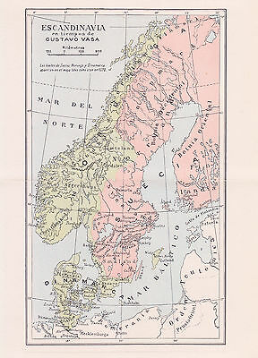 1956 Antique Map of Scandinavia During the Renaissance