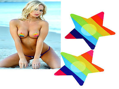 2 x Nipple Cover Sticker Bra Pad Patch Pasties Disposable #Rainbow Star UK