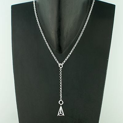 SUPERTASH 925 Sterling Silver Rolo Chain Minimalist Pyramid Triangle Necklace