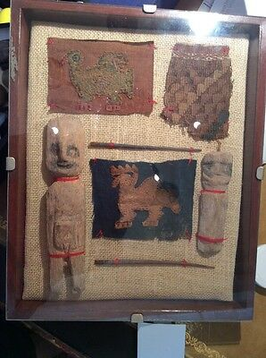 Collection Ancient Peru NASCA CHIMU.  -  2 Dolls, 3 Textiles, 2 Tools, Creatures