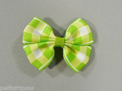 Barrette pince crocodile cheveux noeud double ruban vert à carreaux fille