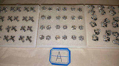 Joblot of 36 pairs Hypoallergenic Diamante stud Earrings - NEW Wholesale lot A