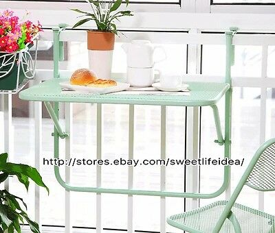 Iron Over The Bar Folding Patio Balcony Small Table Yellow