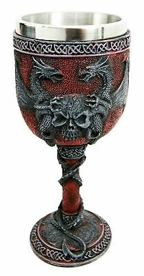 "6.75"" Height Gothic Double Dragon Protecting Skull Wine Beverage Goblet Cup Gift"