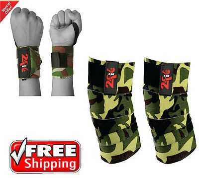 2Fit Knee Wraps Weight Lifting Gym Training + Wrist Grip Wraps Colour Camouflage