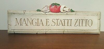 Al Pisano Original Italian & Tuscan Decor Kitchen Wall Plaque Shut Up And Eat!