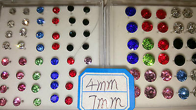 Joblot 39 pairs 4mm & 7mm Hypoallergenic Diamante stud Earrings - NEW Wholesale