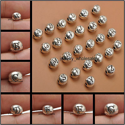 60pcs Charm Tibetan Silver A-Z Letters Spacer Beads 6x7mm