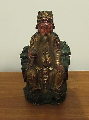 Antique Chinese wood carving of Emperor hair 19th