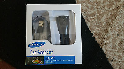 Genuine SAMSUNG 15W Fast Car Charger+Cable for Galaxy S7 S6, NOTE 4/5 – Black