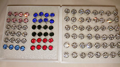 Joblot 48 pairs 5 mm & 6 mm Hypoallergenic Diamante stud Earrings Wholesale 1