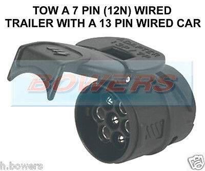 Caravan Towbar Towing Electrics Adaptor Converter 7 Pin Trailer To 13 Pin Car