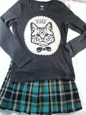 Old Navy Charcoal Gray Kitty Cameo Top 7 NWOT TCP Green Pleated Skort Outfit G5