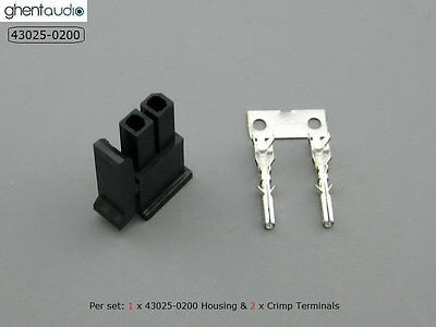 10 sets --- molex 43025-0200 Micro-Fit 3.0mm 2-circuits Housing & Crimp Terminal