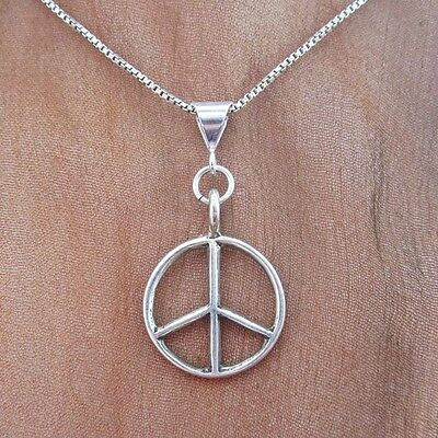 Large Peace Sign Sterling Silver Pendant Charm and Necklace- Free Shipping