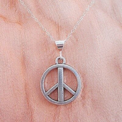 Large Peace Sign Silver-Plated Pendant Charm and Necklace- Free Shipping
