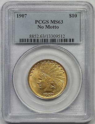 1907 No Motto Indian Head Gold Eagle $10 MS 63 PCGS