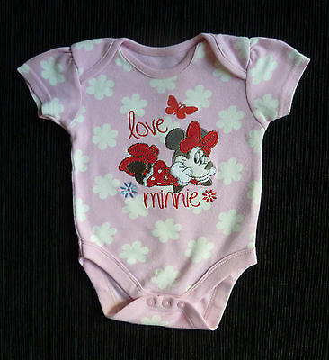 Baby clothes GIRL 0-3m Disney Minnie Mouse pink/white floral bodysuit SEE SHOP!