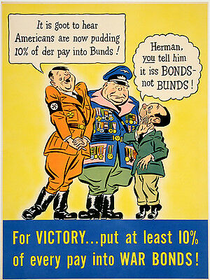 Original Vintage WWII Poster It is Goot to Hear... for Victory 1942 Hitler