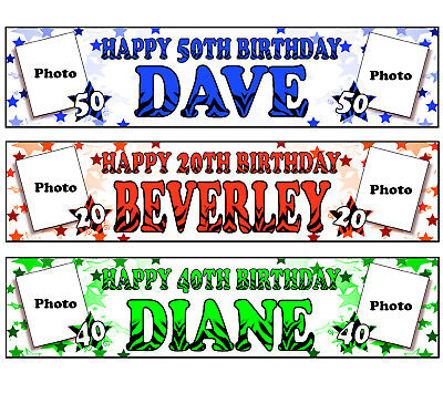 PERSONALISED BANNERS NAME AGE PHOTO BIRTHDAY PARTY mum gran flowers purple P1