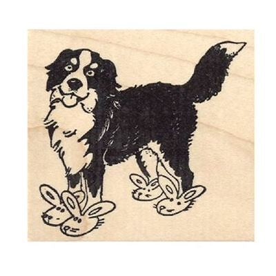 Bernese Mountain Dog in Bunny Slippers Rubber Stamp - (RH27217) FREE SHIPPING