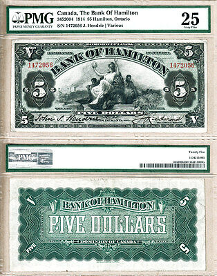 Bank of Hamilton 1914 $5. Beautiful Large Chartered Bank Issue.Original PMG VF25