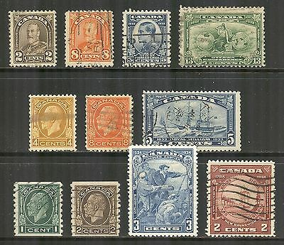 Canada #166 / 210, 1931-1934 Issues - 11 Different, Used