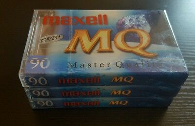 3x Maxell MQ 90 BLANK Audio Tape Master Quality New