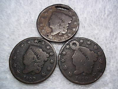 1829 Large cents U.S. (lot of 3) well circulated  HOLED #L16.10.7
